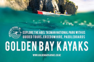 Image of Golden Bay Kayaks logo and person kayaking
